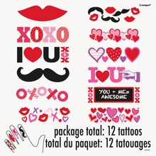 Love and Hearts Valentine Finger Tattoos, 12ct, medium