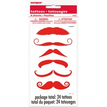 Red Mustache Tattoo Sheets, 4ct, medium