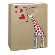 Large Kraft Paper Giraffe Love Valentine Gift Bag, medium