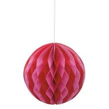"Red and Pink Valentine Tissue Paper Honeycomb Ball, 8"", medium"