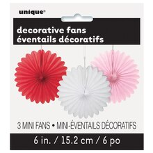 "Mini 6"" Valentine Tissue Paper Fan Decorations, 3ct, medium"