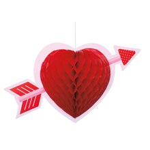 "Hanging Honeycomb Heart Valentine Decoration, 14"", medium"