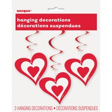 Hanging Red Heart Decorations, 3ct, medium