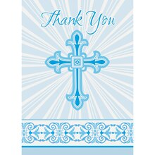 Radiant Blue Cross Religious Thank You Cards, 8ct