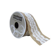 "Wired Burlap & White Lace Ribbon by Celebrate It Occasions, 1.5"" x 3yd."