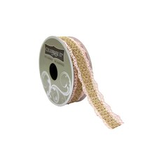 "Burlap Ribbon With Pink Lace Trim by Celebrate It Occasions, 3/4"" x 5yd."