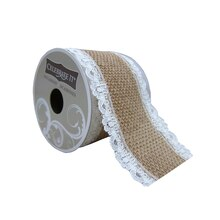"Burlap Ribbon With White Lace Trim by Celebrate It Occasions, 2.5"" x 3yd."