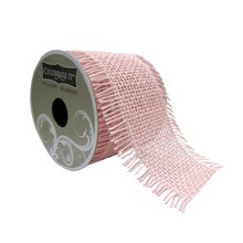 "Pink Frayed Edge Burlap Ribbon by Celebrate It Occasions, 2.5"" x 3yd."