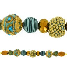 Jesse James Beads Turquoise Blue, Brown & Gold Strand