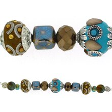 Jesse James Beads Turquoise, Silver & Dark Brown Strand