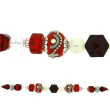Jesse James Beads Red, Crystal & Silver Strand
