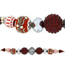 Jesse James Beads Red & Silver Strand
