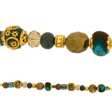 Jesse James Beads Turquoise, Brown & Antique Gold Strand