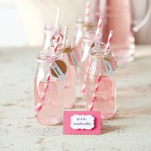 Pink & White Party Glass Milk Jars, medium