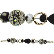 Jesse James Beads Black & Antique Silver Strand