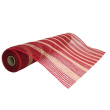 """Stripe Jute Mesh Ribbon by Celebrate It Occasions, Red 21"""" x 18ft."""