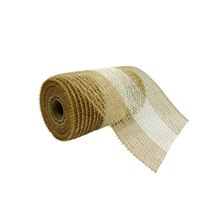 "Striped Jute & Cotton Mesh Ribbon by Celebrate It, 5.5"" x 24ft."