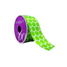"White & Lime Dots Wired Satin Ribbon by Celebrate It 360°, 1 1/2"" x 4yd."