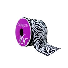 "White & Black Zebra Wired Satin Ribbon by Celebrate It 360°, 2 1/2"" x 3yd."