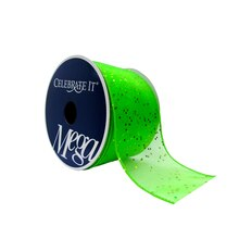 "Lime Glitter & Shimmer Wired Ribbon by Celebrate It Mega, 2 1/2"" x 10yd."