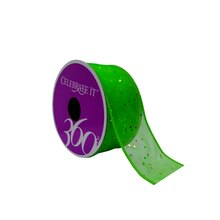 "Emerald Glitter Wired Ribbon by Celebrate It 360°, 1 1/2"" x 4yd."