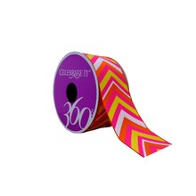 "Orange & Pink Chevron Grosgrain Ribbon by Celebrate It 360°, 1 1/2"" x 4yd."