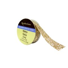 Glitter Taffeta Ribbon by Recollection, Champagne