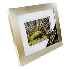 "Champagne Float Frame With Double White Mat by Studio Décor Gallery, 5"" x 7"""