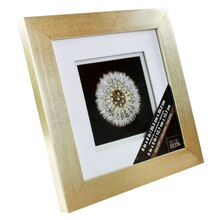 "Champagne Float Frame With Double White Mat by Studio Décor Gallery, 5"" x 5"", Angled"