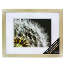 "Gallery Float Wall Frame With Double White Mat by Studio Décor, Champagne 11"" x 14"""