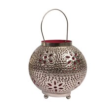 """8"""" Tropicalia Silver & Red Cut-Out Floral Votive Holder"""