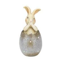 "5.25"" Bunny In Purple Polka Dot Easter Egg"