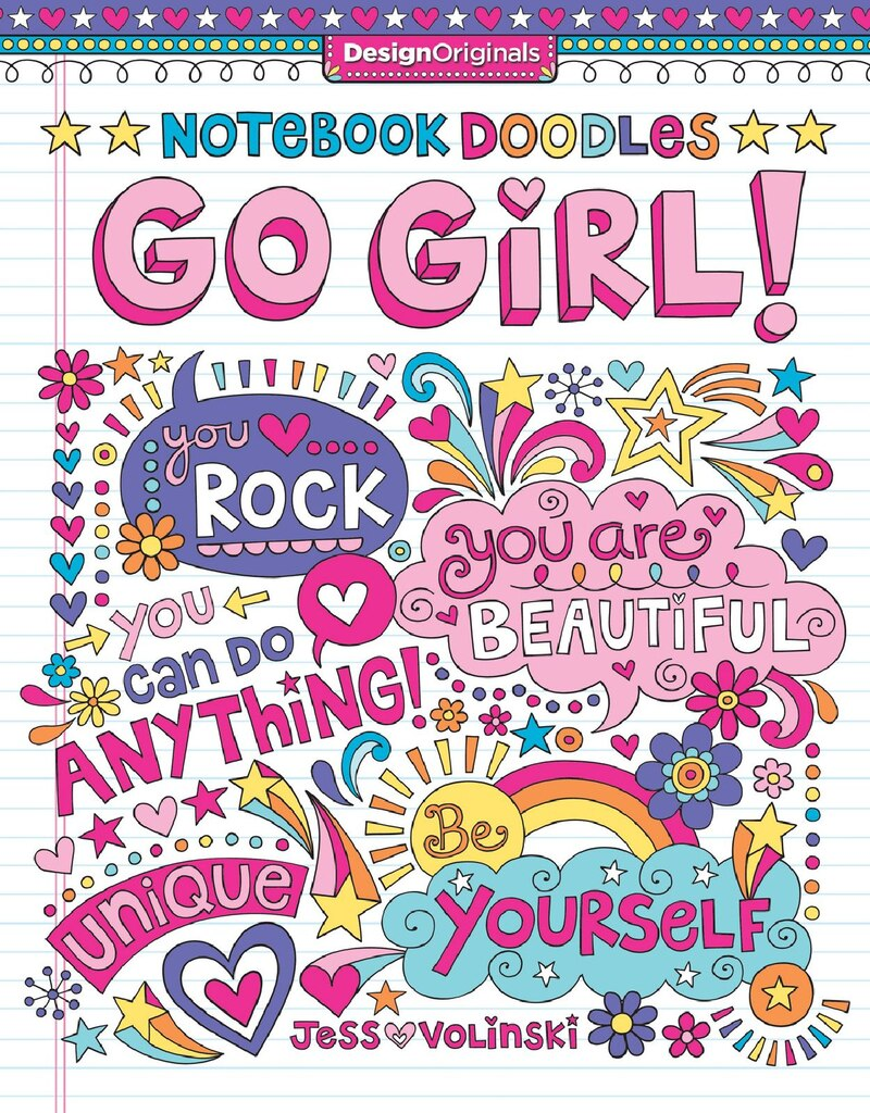 Notebook Doodles Go Girl Coloring Activity Book