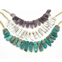 Natural Stone Slab Collar Necklaces, medium