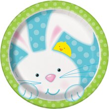 "7"" Spring Easter Bunny Party Plates, 8ct"