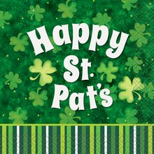 Lucky Stripes St. Patrick's Day Beverage Napkins, 16ct