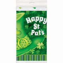 """Plastic Lucky Stripes St. Patrick's Day Tablecloth, 84"""" x 54"""""""