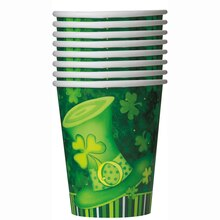 9oz Lucky Stripes St. Patrick's Day Paper Cups, 8ct