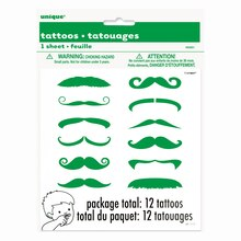Green Mustache Finger Tattoo Sheets, 12ct
