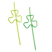 Plastic Shamrock Squiggle Silly Straws, 4ct