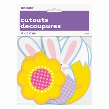 Paper Cut Out Bunny and Chick Easter Decorations, 6ct