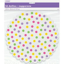Bright Polka Dot Paper Doilies, 16ct
