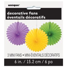 "6"" Bright Multicolor Tissue Paper Fan Decorations, 3ct"