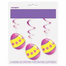 Hanging Easter Egg Decorations, 3ct