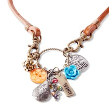 Heartlines Leather Necklace, medium
