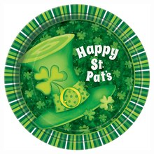 """7"""" Lucky Stripes St. Patrick's Day Party Plates, 8ct"""