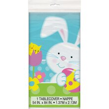 "Plastic Spring Easter Bunny Tablecloth, 84"" x 54"""