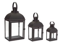 Dome Top Black Lanterns, Set of 3