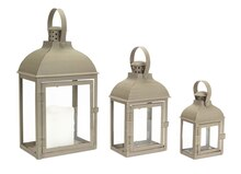 Dome Top Gray Lanterns, Set of 3