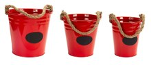Red Buckets with Chalkboard Label & Rope Handle, Set of 3